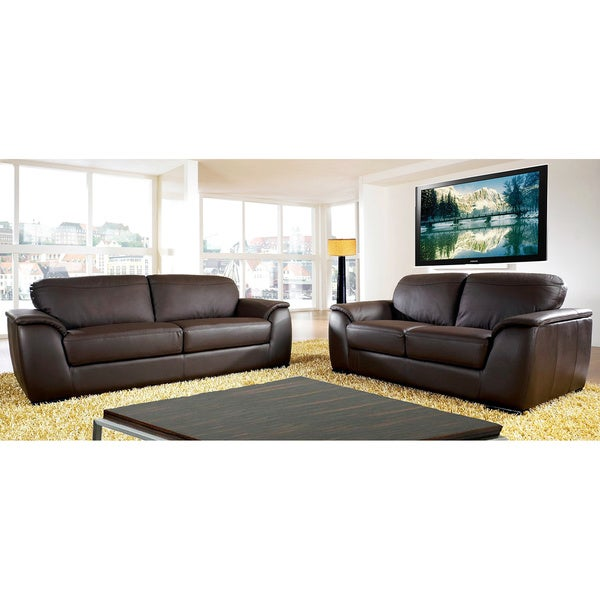 Abbyson Living Ashton Top Grain Leather Sofa And Loveseat