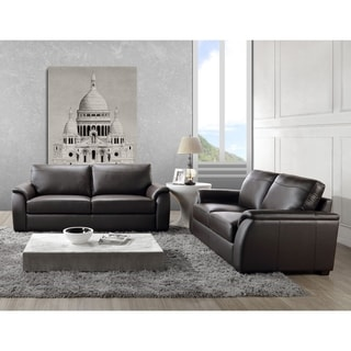 Abbyson Ashton Top Grain Leather Sofa and Loveseat Set