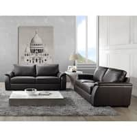 Abbyson Ashton Brown Top Grain Leather 2 Piece Living Room Set