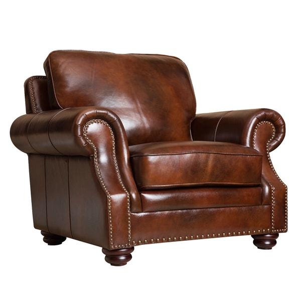 Shop Abbyson Kensington Hand-rubbed Top Grain Leather ...