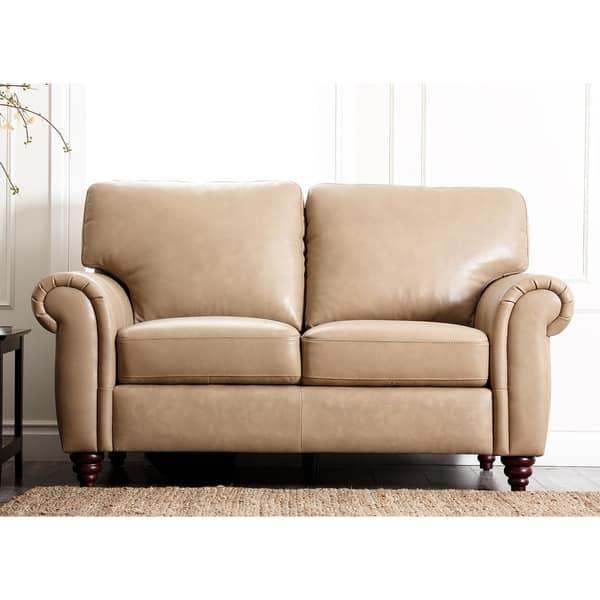 Shop Abbyson Parker Premium Top Grain Leather Sofa And