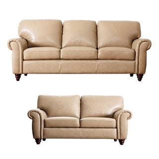 ABBYSON LIVING Parker Premium Top Grain Leather Sofa and Loveseat