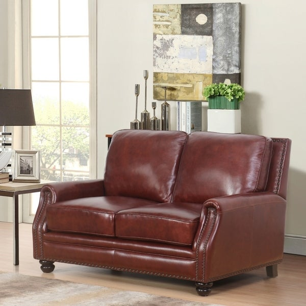 Shop Abbyson Verona Hand Rubbed Top Grain Leather Loveseat