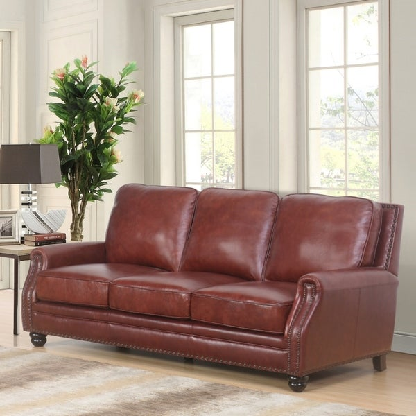 Abbyson Verona Hand Rubbed Top Grain Leather Sofa