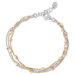 La Preciosa Tri-color Sterling Silver 3-strand Oval Beads Bracelet