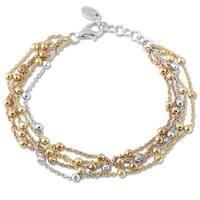 La Preciosa Tri-color Sterling Silver 5-strand Beads Bracelet
