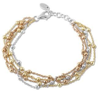 La Preciosa Tri Color Sterling Silver 5 Strand Beads Bracelet
