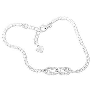 La Preciosa Sterling Silver Cubic Zirconia Center Design Tennis Bracelet