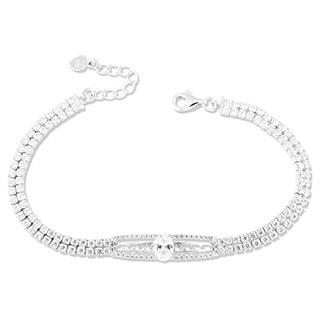 La Preciosa Sterling Silver Cubic Zirconia Double-row Tennis Bracelet