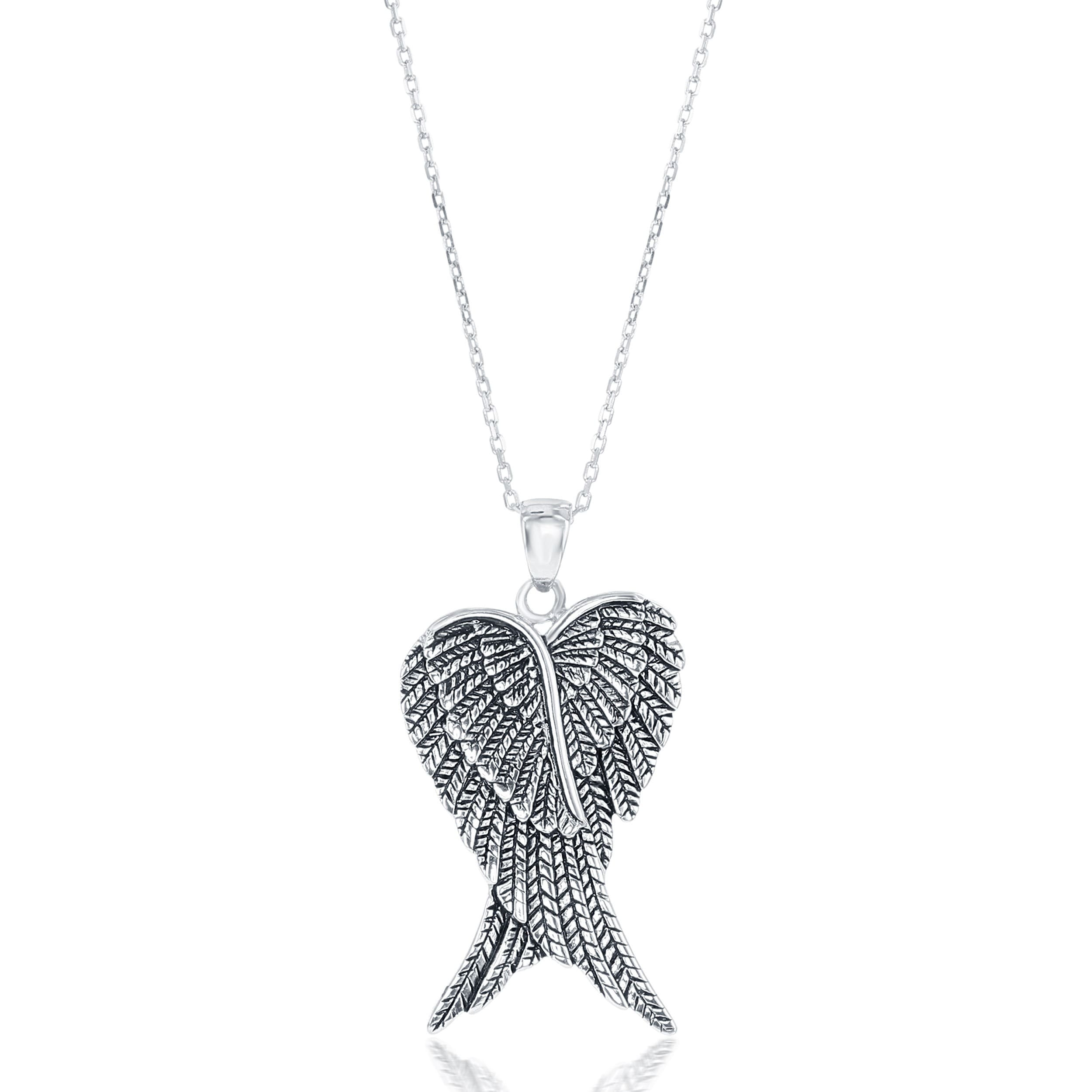 Handmade Silver Tone Locket Pendant Necklace Angel with Wings