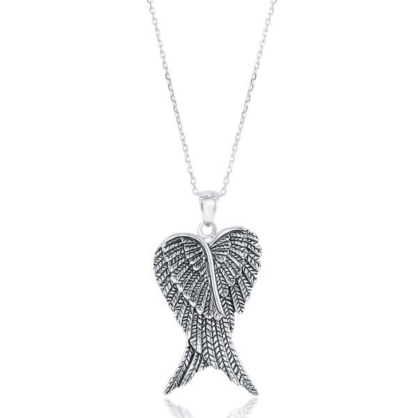 La Preciosa Sterling Rhodium Plated/Gold Plated Double Angel Wings Heart-shaped 18'' Pendant Necklace. Opens flyout.