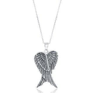 La Preciosa Sterling Silver Double Angel Wings Heart-shaped Pendant