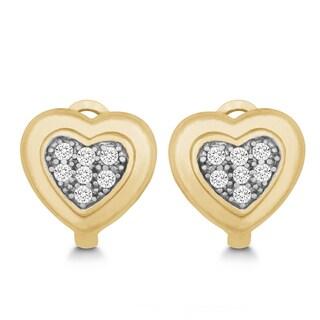 La Preciosa Sterling Silver Goldplated Cubic Zirconia Heart Stud Earrings