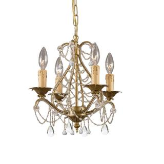 Crystorama Abigail Collection 4-light Gold Leaf Chandelier