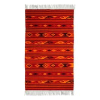 Handmade Zapotec 'Sunset Glyphs' Wool Rug 4.9'x2.6' (Mexico) - 4'9 x 2'6