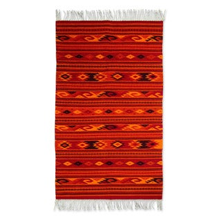 Handmade Zapotec 'Sunset Glyphs' Wool Rug (Mexico) - 4.9' x 2.6'