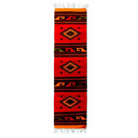 Handmade Red with Multi-color Geometric Pattern Wool Natural Dye Zapotec Runner Rug 1.5 x 5 Ft (Mexico) - 1.3' x 4.9'