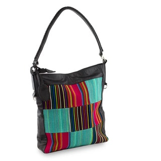 Handmade Cotton Leather Accent 'Antigua Rainbow' Shoulder Bag (Guatemala)