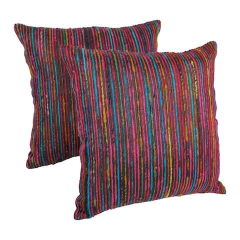 Blazing Needles 20-inch Black Throw Pillows with Rainbow Yarn Threading (Set of 2)