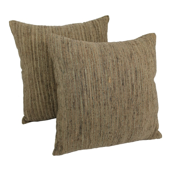 Blazing Needles 20-inch Natural Palette Striped Throw Pillows (Set of 2)