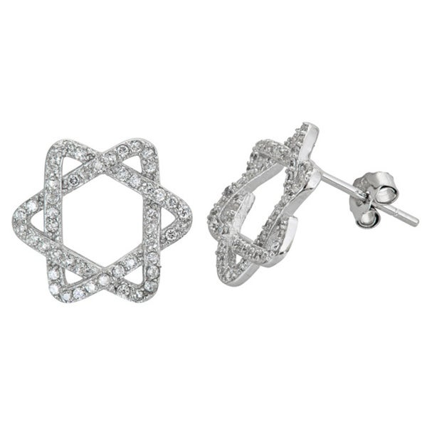 82ba7ef0a Decadence Sterling Silver Micropave Cubic Zirconia Star of David Stud  Earrings