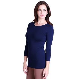 Nikibiki Women's Seamless One Size 3/4-sleeve Top (Option: NAVY OSFM)