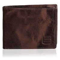Suvelle W031 Men's Slim Leather Bifold Removable Flip-up ID Window Wallet - L