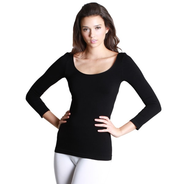 934646988b2 Shop Nikibiki Women s Nylon Spandex Seamless 3 4-sleeve Scoop Neck ...