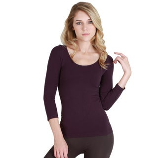 Nikibiki Women's Seamless 3/4-sleeve Scoop Neck Top (One size)