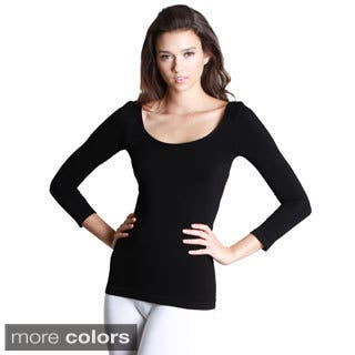 Nikibiki Women's Seamless 3/4-sleeve Scoop Neck Top (One size)|https://ak1.ostkcdn.com/images/products/9746150/P16919598.jpg?impolicy=medium