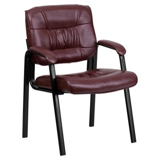 Offex Leather Guest Reception Chair with Black Frame Finish (4 options available)