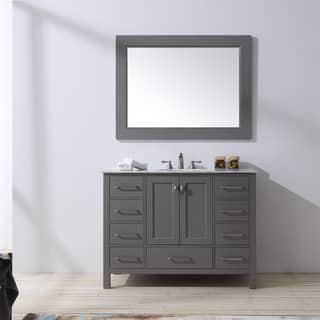 malibu gray single sink bathroom vanity with 47 inch mirror - Bathroom Cabinets Grey