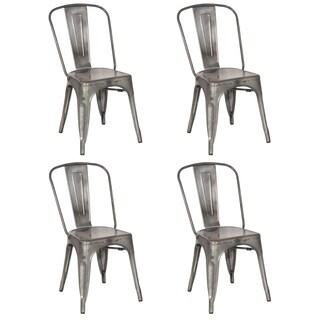Somette Gun Metal Galvanized Steel Side Chair (Set of 4)