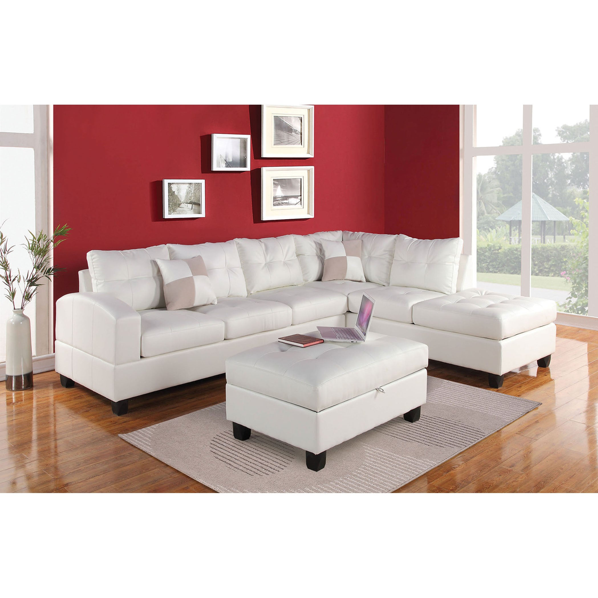 ACME Furniture Kiva Reversible Sectional With 2 Pillows in White
