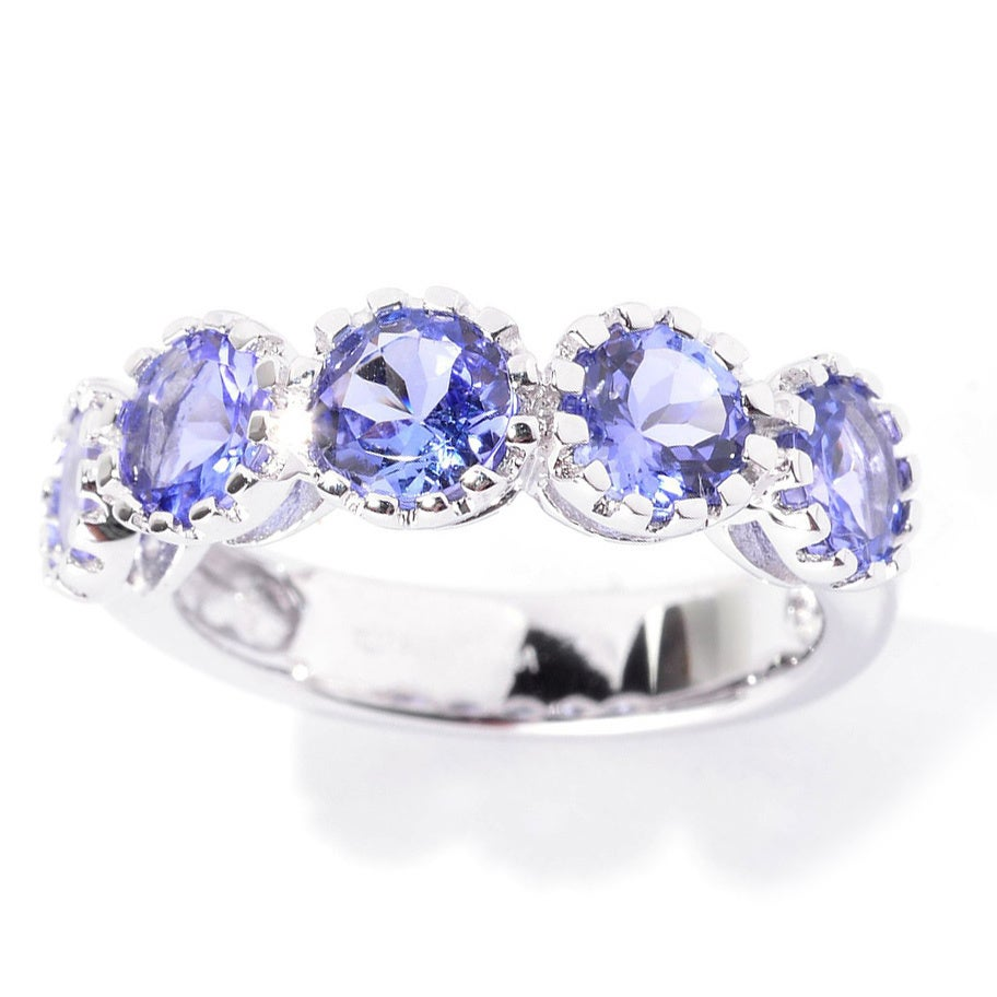 Sterling Silver Round Tanzanite 5-stone High Polish Ring ...