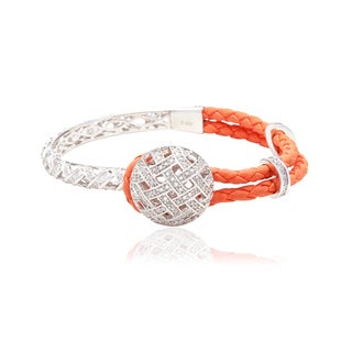 Blue Box Jewels Sterling Silver and Orange Leather Cubic Zirconia Dome Bracelet
