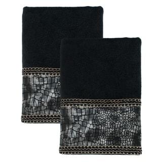 Sherry Kline It's a Croc Black Decorative Bath Towel (Set of 2)