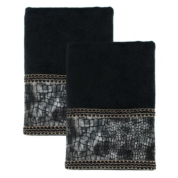 Shop Sherry Kline Its A Croc Black Decorative Bath Towel Set Of 2