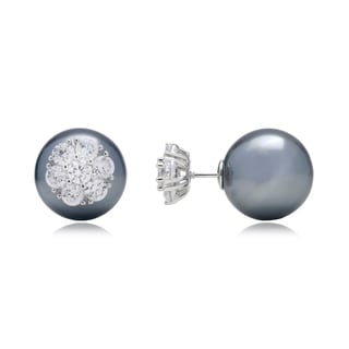 Blue Box Jewels Sterling Silver Simulated Black Pearl Post Earrings