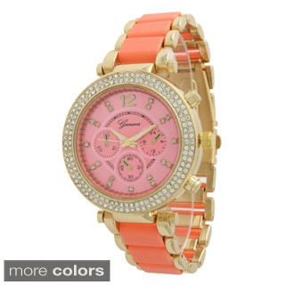 Olivia Pratt Women's Two-tone Rhinestone Boyfriend Watch