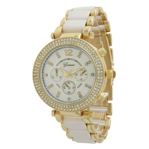 Olivia Pratt Women's Two Tone Rhinestone Boyfriend Watch