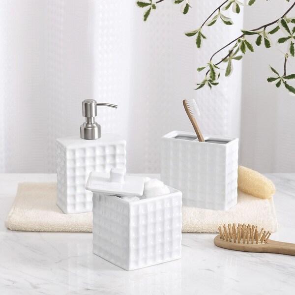 Shop madison park waffle bath accessory 3 piece set free - Madison park bathroom accessories ...