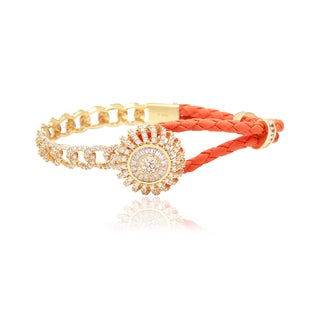 Blue Box Jewels Sterling Silver and Orange Leather Dome Flower Bracelet