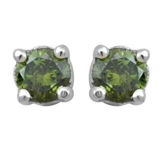 Divina 14k White Gold 1/3ct TDW Green Diamond Stud Earrings (I2-I3)