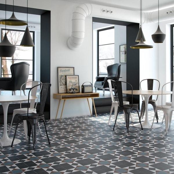 Somertile 13 x 13 inch narcissus nouveau porcelain floor for 13 inch ceramic floor tile