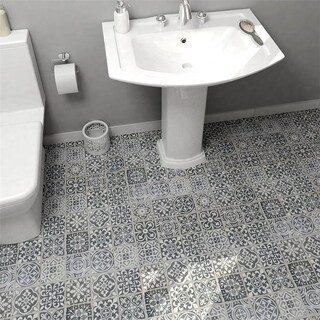 SomerTile Faventia Nero White/Grey Ceramic 13-inch x 13-inch Floor and Wall Tile (Case of 10)