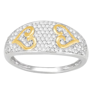 Divina 14k Yellow Gold and Sterling Silver 3/8ct TDW Pave Diamond Heart Ring (H-I, I2-I3)
