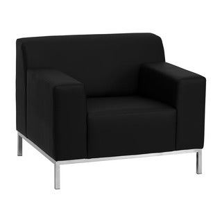 Offex Hercules Definity Series Contemporary Black Leather Chair with Stainless Steel Frame