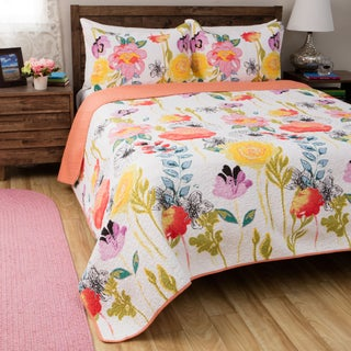 Greenland Home Fashions Watercolor Dream 3-piece Cotton Quilt Set (3 options available)