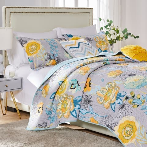 Greenland Home Watercolor Dream Oversized 3-piece Cotton Quilt Set